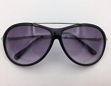 Black Aviator Sunglasses Violet Fade Lenses Silver Detail