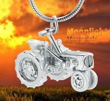 New Tractor Farmer Urn Cremation Pendant Ashes Silver Memorial Necklace
