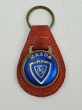 Vintage 1980's Madza RE keychain Classic logo leather FOB