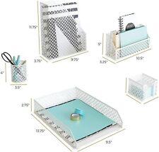 White Desk Accessories for Women-5 Piece Office Supply White Desk Organizer Set