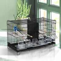 "17.75""x9""x10.5"" Flight Bird Cage 4 Doors 6 Food Boxes 4 Perch Pole Metal PP Pine"