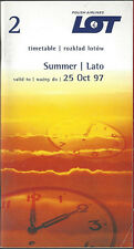 LOT Polish Airlines system timetable valid until 10/25/97 [6112]