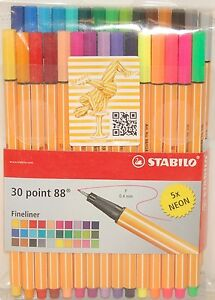 Stabilo 30 Point 88 Fineliner Markers Pens 0.4 mm 5x neon 8830-1 Made In Germany