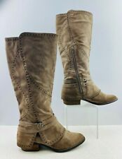 Ladies Brown Suede Round Toe Zippered Buckaroo Boots Size: 10