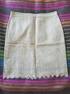 New Tory Burch Perforated Leather Skirt Size 10 Runs bit Small Better Size 8-10