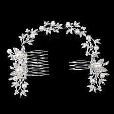 Wedding Bridal pearl Headpiece Butterfly Crystal Hair tiara Combs Headwear NEW