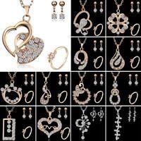 Women 18K Yellow Gold Filled CZ Love Heart Earrings Necklace Set Jewelry Gift