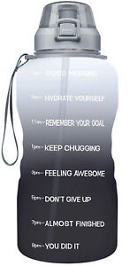 Large 1 Gallon/128oz Motivational Water Bottle with Time Marker & Straw Sports