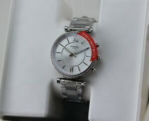 NEW AUTHENTIC FOSSIL CARLIE SILVER HYBRID SMARTWATCH WOMEN'S FTW5041 WATCH