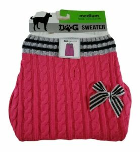 Dog Sweater Pink w Striped Bow New with Tags Size Medium Beagle Standard Poodle