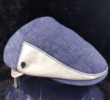 "NWT KAMINSKI XY ""BELCASTRO"" Men's Ivy Flat Cap Hat Linen/Cotton Medium Marine"