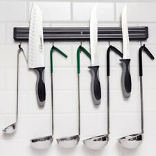 """18"""" Black Magnetic Knife Holder/Strip With Hooks & Mounting Parts Free Ship USA"""