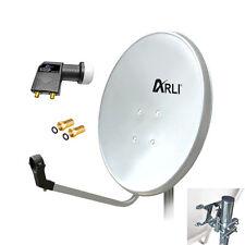 80 cm HD SAT Anlage Digitale TWIN LNB 2 Teilnehmer Schüssel Antenne Spiegel 4K W