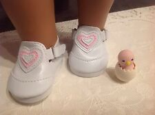 "For 15""-18"" Girl Doll WHITE TENNIS SHOES w/PINK HEART Velcro Straps Sale Priced"