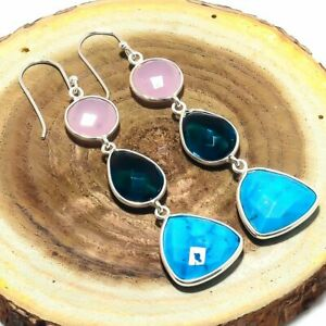 """Sleeping Turquoise Gemstone 925 Solid Sterling Silver Jewelry Earring 2.56 """" UG"""