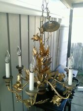 Italian gilded Florentine chandelier with grapes, flowers, leaves and wheat