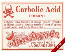 VINTAGE DRUG STORE CARBOLIC ACID POISON ANTIDOTE WARNING SIGN REAL CANVAS PRINT