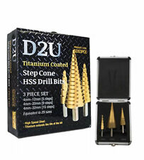3pcs Titanium Coated HSS Step Cone Drill Bit Set
