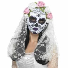 Sugar Skull Skeleton Day of the Dead Bride Mask Veil Fancy Dress Halloween