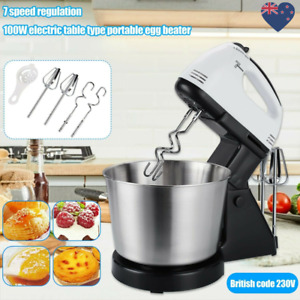 7Speed Electric Food Stand Hand Mixer Bowl Cake Dough Hook Whisk Beater UK PLUG