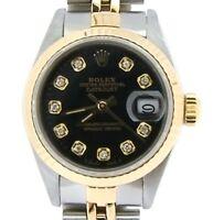 Rolex Datejust Ladies 2Tone 18K Gold & Stainless Steel Watch Black Diamond 69173