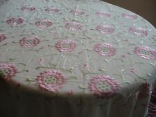 Beautiful Vintage Silk Piano Shawl w/Hand Embroidered Pink Flowers