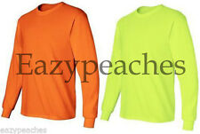 Gildan or Jerzees NEW ANSI Safety Long Sleeve T-Shirt 2400 S-5XL HIGH VISIBILITY