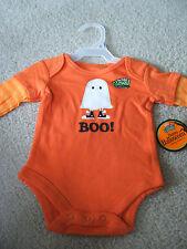 Newborn NWT Baby Boo! Ghost Long Sleeve One Pc Sleeper Orange Halloween Glow Dk