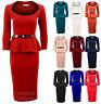 Ladies Long Sleeve Belted Peplum Knee Length Frill Bodycon Womens Dress 8-14