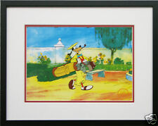 Disney Framed Animation Cel Goofy Golf sports art free backround Walt Disney COA