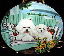 Bichons Frise Dog Puppy Swing Set Michele Amatrula Danbury Mint Plate