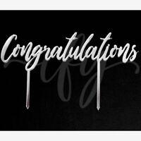 Congratulations Cake Topper Acrylic Party Decorations Script Silver Mirror