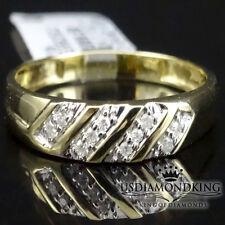 MEN'S NEW 10K YELLOW GOLD GENUINE REAL DIAMOND WEDDING ANNIVERSARY RING BAND