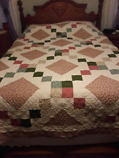Handmade queen quilt. Stepping Stones design.