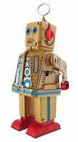 Collectors Gold Clockwork Robot Sparking Eyes And Mouth Walking