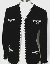 ST John black white ivory trim coco knit textured cropped jacket S M  6 $1299