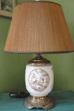 Antique Aesthetic Movement Brown Transfer Ware Table Lamp
