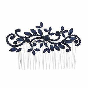 Anglacesmade Bridal Hair Comb Crystal Hair Comb Blue Rhinestone Headpiece Marqui