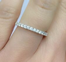 18k Solid White Gold Band VS Diamond Ring 0.28CT, Sz 6.5