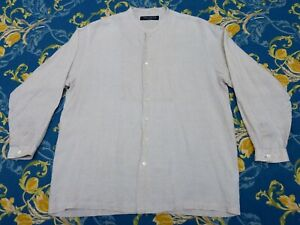 IRISH LINEN GRANDAD COLLAR SMOCK SHIRT OLD TOWN WORK CLOTHING PEAKY BLINDERS L