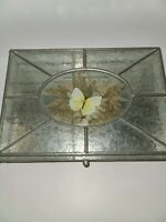 VINTAGE GLASS DRESSER TRAY W/ A BEAUTIFUL YELLOW BUTTERFLY & MIRRORED BOTTOM