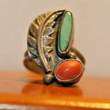 Beautiful Sterling Turquoise/Coral Ring