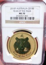 2010 GOLD AUSTRALIA $100 DOLLAR LUNAR YEAR OF THE TIGER 1OZ MINT STATE 70