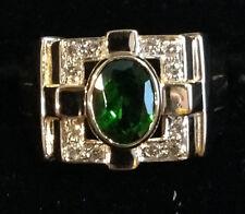 Green Tourmaline and Diamond Ring Set in 14K Yellow Gold