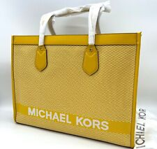 Auth NWT Michael Kors Large Sun Bay Logo East West Canvas Tote In Sun Flower