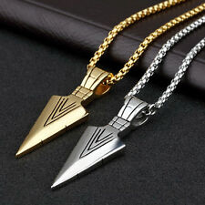 Fashion Men's Stainless Steel Arrow Pendant Necklace Chain Silver Gold Jewelry