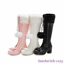 Bowknot Women's Knee High Boots Suede Shoes Zipper Lace Up Fashion Lolita Casual