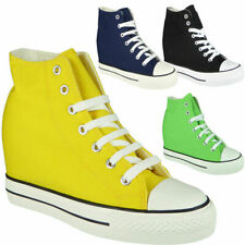 Womens Hi Top Trainers Ladies Wedge Sneakers Lace Up Hidden Heel Pumps New Shoes
