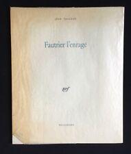 JEAN PAULHAN : FAUTRIER L'ENRAGÉ / GALLIMARD 1962