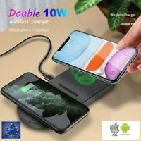 Double Chargeur sans fil Rapide Qi Induction LED 20W Iphone Samsung Huawei
